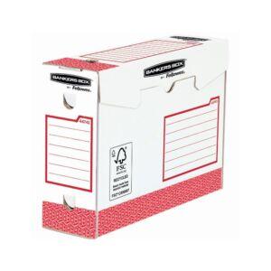 Archiváló doboz extra erős, A4+, 100 mm, FELLOWES Bankers Box Basic, 20 db/csomag, piros- fehér