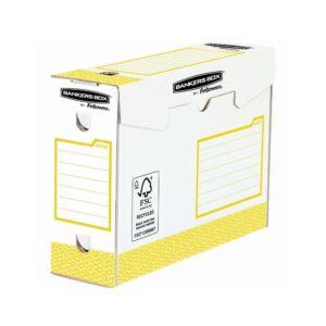 Archiváló doboz extra erős, A4+, 100 mm, FELLOWES Bankers Box Basic, 20 db/csomag, sárga- fehér
