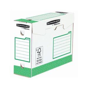 Archiváló doboz extra erős, A4+, 100 mm, FELLOWES Bankers Box Basic, 20 db/csomag, zöld- fehér