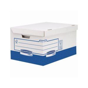 Archiváló konténer, karton, ultra erős, nagy, FELLOWES Bankers Box Basic, 10 db/csomag, kék-fehér