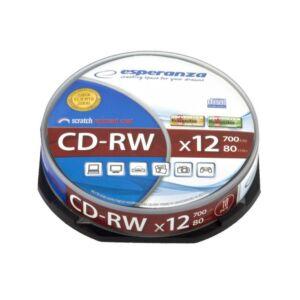 CD-RW újraírható lemez cake10 700mb 12x 10 db ESPERANZA