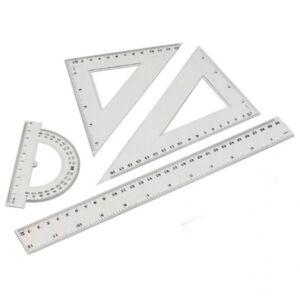 Vonalzó készlet 4 darabos 30 cm vonalzó, szögmérő, 45 és 60 fokos háromszög vonalzók