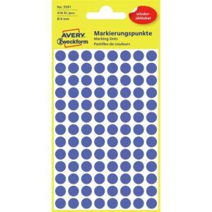 Etikett címke, visszaszedhető jelölésre o8 mm, 104 címke/ív, 4 ív/doboz, Avery indigó kék