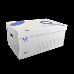 Archiváló konténer karton 54x36x25 cm fehér-kék felfelé nyíló tetővel BLUERING