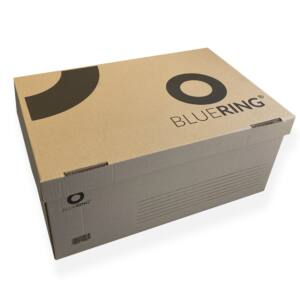 Archiváló konténer karton 54x36x25 cm felfelé nyíló tetővel barna BLUERING