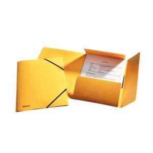 Gumis mappa karton prespán A4, 15 mm ESSELTE Rainbow sárga