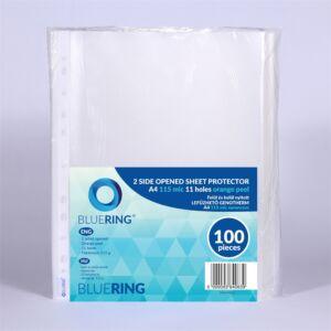 Genotherm lefűzhető, felül és belül nyitott A4 115 micron narancsos BLUERING 100 db/csomag