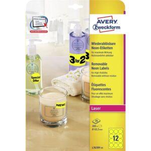 Etikett címke, visszaszedhető o63,5 mm,neon 12 címke/ív, 25 ív/doboz, Avery sárga