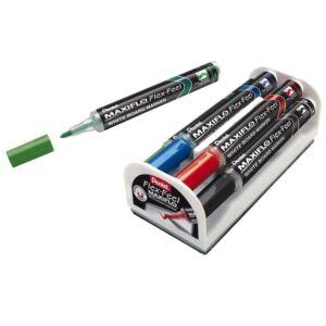 Táblamarker+törlő szivacs 1-5mm hajlékony hegyű PENTEL Maxiflo Flex Feel 4 db-os klt