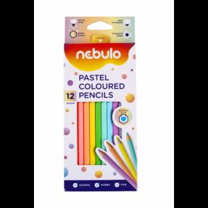 Színes ceruza készlet, pasztell, hatszög, 12 színes, NEBULO