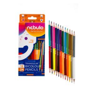 Színes ceruza, kétvégű, háromszög, NEBULO 12/24 színes,