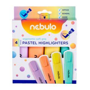 Szövegkiemelő készlet, pasztell NEBULO 4 klf. szín