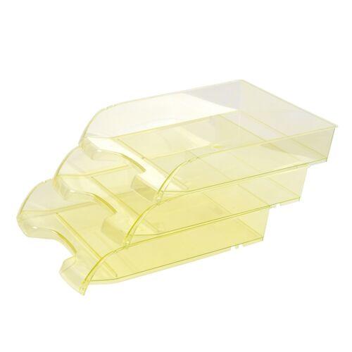 Irattálca műanyag 550 áttetsző sárga extra széles 345x270x67mm