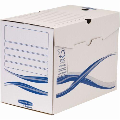 Archiváló doboz A4, 200 mm, FELLOWES Bankers Box Basic, 25 db/csomag, kék-fehér