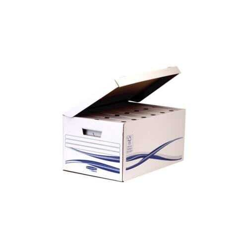 Archiváló konténer csapófedéllel , karton, nagy, FELLOWES Bankers Box Basic, 5 db/csomag, kék-fehér