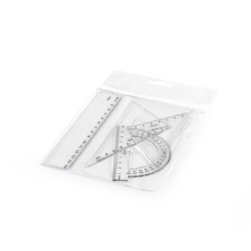 Vonalzó készlet 4 darabos 15 cm vonalzó, szögmérő, 45 és 60 fokos háromszög vonalzók kis méretben