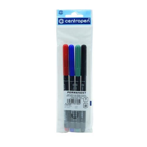 Permanent marker CENTROPEN 2536 kerek végű, 1mm, 4db-os készlet