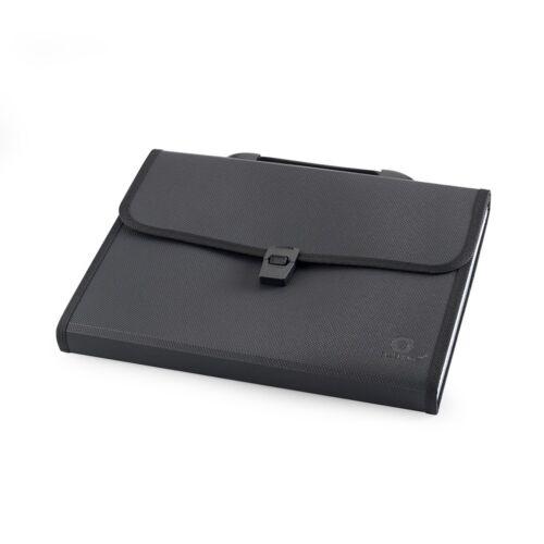 Irattartó táska, harmonikatáska, 13 rekeszes füles csatos fekete
