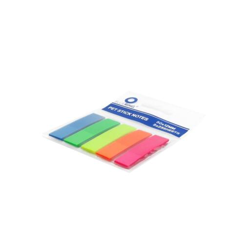 Jelölőcímke műanyag 5x25lap 12x45 mm 5szín/bliszter, műanyag adagolón BLUERING