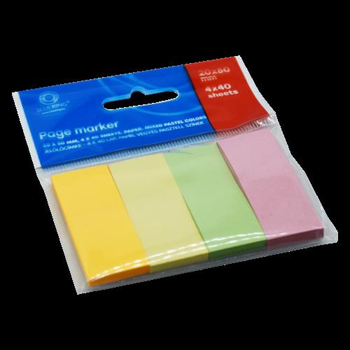 Jelölőcímke papír 4x40 lap 20x50 mm vegyes pastel színek BLUERING