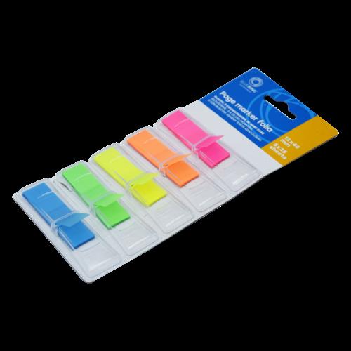 Jelölőcímke műanyag 5x25lap 12x45 mm 5szín/bliszter, kemény tokos adagolóban BLUERING