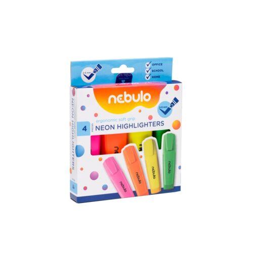 Szövegkiemelő készlet, neon NEBULO 4 klf. szín